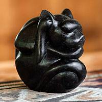 Wood sculpture, 'Black Yogi Cat' - Artisan Crafted Wood Sculpture