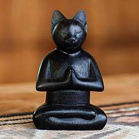 Wood sculpture, 'Black Cat in Deep Meditation' - Handcrafted Suar Wood Sculpture