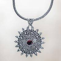 Garnet pendant necklace, 'Empress of Flowers' - Garnet pendant necklace