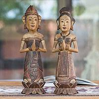 Wood sculptures, 'Bless Our Love' (pair) - Wood sculptures (Pair)