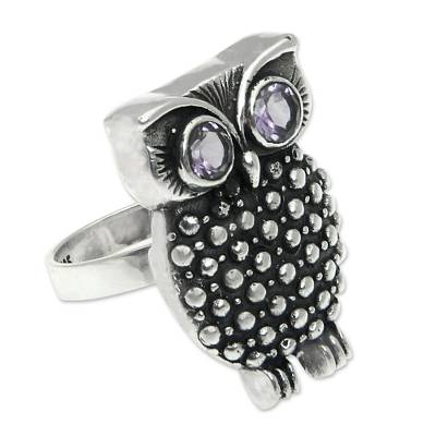 Amethyst cocktail ring, 'Sukawati Owl' - Amethyst cocktail ring