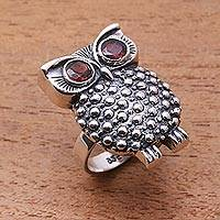 Garnet cocktail ring, 'Sukawati Owl' - Garnet cocktail ring