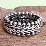 Men's Sterling Silver Band Ring, 'Sultan'