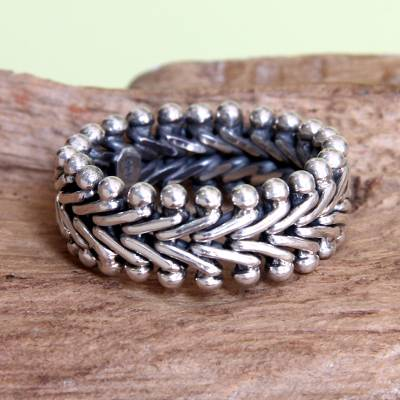 Men's sterling silver band ring, 'Sultan' - Men's Sterling Silver Band Ring