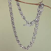 Sterling silver chain necklace, 'Brave Lady'