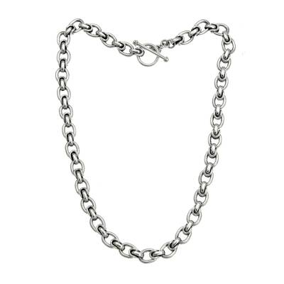 Men's sterling silver chain necklace, 'Brave Knight' - Men's sterling silver chain necklace