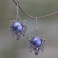 Cultured pearl and garnet dangle earrings, 'Bandung Blue Moon' - Indonesian Sterling Silver and Pearl Dangle Earrings