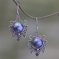 Cultured pearl and garnet dangle earrings, 'Bandung Blue Moon' - Elegant Handcrafted Sterling Silver and Pearl Dangle Earring