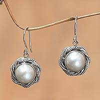 Cultured pearl flower earrings, 'Purest White' - Cultured pearl flower earrings