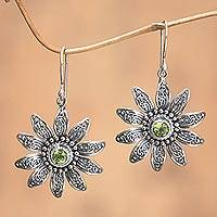 Peridot flower earrings, 'Bandung Daisies' - Peridot flower earrings