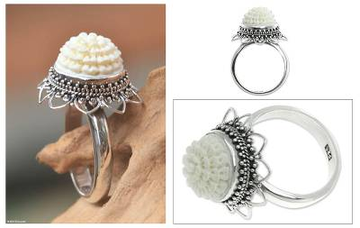 Bone flower ring, 'Seruni White' - Bone flower ring