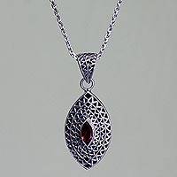 Garnet pendant necklace, 'Java Shield' - Garnet pendant necklace