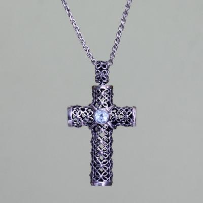 Blue topaz pendant necklace, 'Jasmine Cross' - Unique Blue Topaz and Sterling Silver Religious Necklace