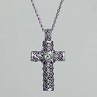 Peridot pendant necklace, 'Jasmine Cross' - Woman's Sterling Silver Filigree and Peridot Cross Necklace