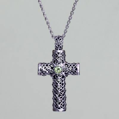 Peridot pendant necklace, 'Jasmine Cross' - Peridot and Sterling Silver Pendant Necklace
