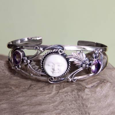 Amethyst cuff bracelet, Night Goddess