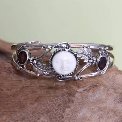 Garnet cuff bracelet, 'Night Goddess' - Garnet Cuff Bracelet