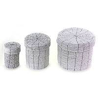 Beaded nesting boxes, 'Sassy White' (set of 3) - Beaded nesting boxes (Set of 3)