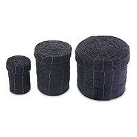 Beaded nesting boxes, 'Sassy Black' (set of 3) - Beaded nesting boxes (Set of 3)