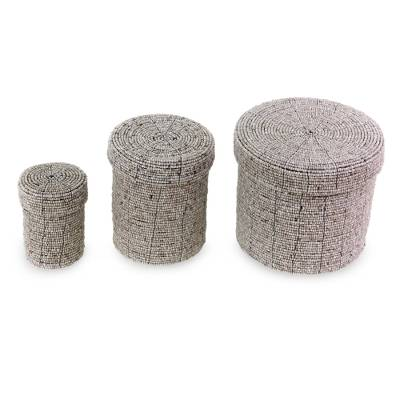 Beaded nesting boxes, Sassy Beige (set of 3)