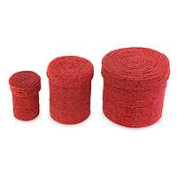 Beaded nesting boxes, 'Sassy Red' (set of 3) - Beaded nesting boxes (Set of 3)