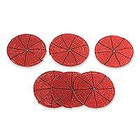 Beaded coasters, 'Shimmering Scarlet' (set of 6) - Beaded coasters (Set of 6)