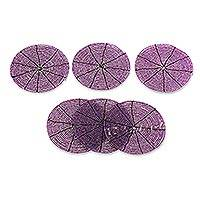 Beaded coasters, 'Shimmering Lilac' (set of 6) - Beaded coasters (Set of 6)