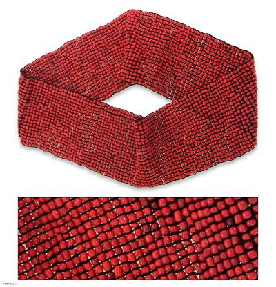 Beaded belt, 'Red Distinction' - Women's Beaded Stretch Belt