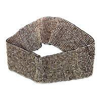 Beaded belt, 'Light Brown Distinction' - Beaded belt