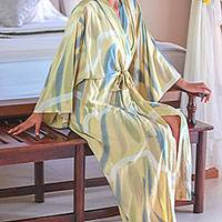 Women's batik robe, 'Sweet Nuance' - Artisan Crafted Hand-Dyed Textile Batik Patterned Robe