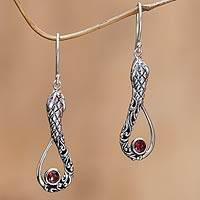Garnet dangle earrings, 'Cobra Passion' - Garnet dangle earrings