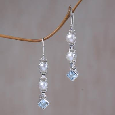 Cultured pearl and blue topaz dangle earrings, 'Silver Trail' - Cultured pearl and blue topaz dangle earrings