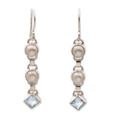 Cultured pearl and blue topaz dangle earrings