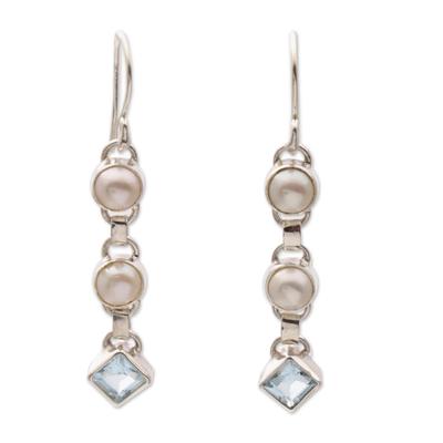 Cultured pearl and blue topaz dangle earrings, 'Silver Trail' - Cultured pearl and blue topaz dangle earrings
