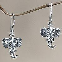 Sterling silver dangle earrings, 'Balinese Elephants' - Sterling silver dangle earrings