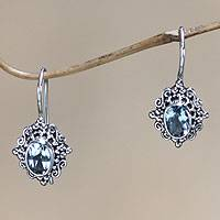 Blue topaz drop earrings, 'Balinese Elegance'