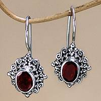 Garnet drop earrings, 'Balinese Elegance' - Silver Earrings with Garnet Centerpiece