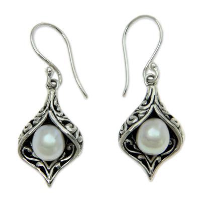 Cultured pearl dangle earrings, 'Lily of Bali' - Cultured pearl dangle earrings