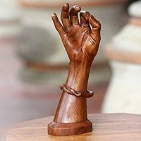 Wood sculpture, 'Hamsasya Mudra' - Hand Carved Wooden Hand Sculpture