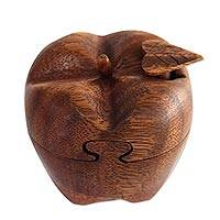 Wood puzzle box, 'Forbidden Fruit' - Indonesian Wooden Apple Shaped Puzzle