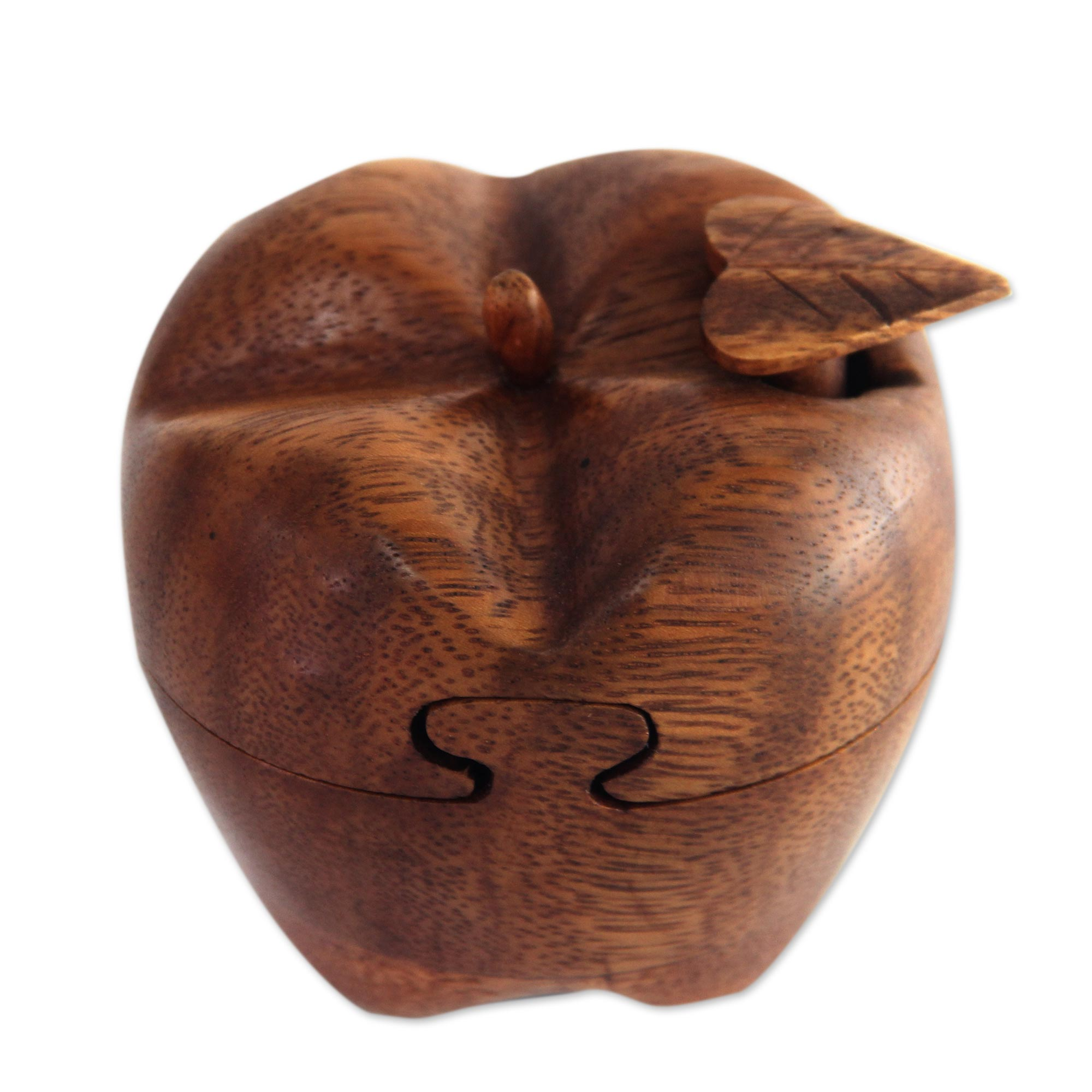 hand carved wood apple puzzle box - forbidden fruit | novica