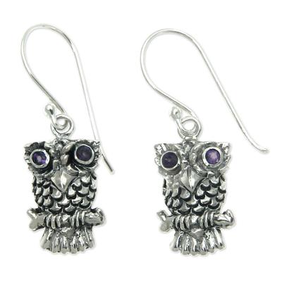 Amethyst dangle earrings, 'Baby Owl' - Sterling Silver and Amethyst Bird Earrings