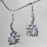 Sterling silver dangle earrings, 'Dragon Splendor' - Unique Sterling Silver Dragon Dangle Earrings