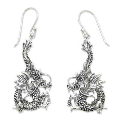 Sterling silver dangle earrings, 'Dragon Splendor' - Sterling Silver Dangle Earrings