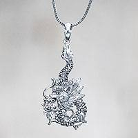 Sterling silver pendant necklace, 'Dragon Splendor'