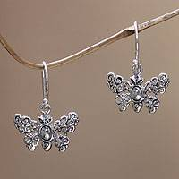 Sterling silver dangle earrings, 'Butterfly Vignette' - Sterling silver dangle earrings