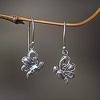 Sterling silver dangle earrings, 'Baby Butterfly' - Sterling silver dangle earrings