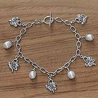 Cultured pearl charm bracelet, 'Baby Butterfly' - Cultured pearl charm bracelet