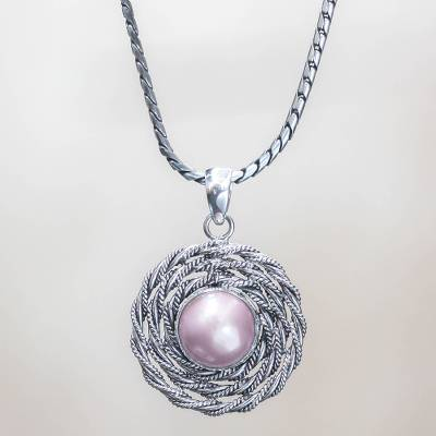Cultured pearl flower necklace, 'Java Rose' - Cultured pearl flower necklace
