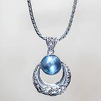 Cultured pearl pendant necklace, 'Blue Crescent Moon'